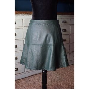 Anthropologie Leifsdotter Leather Scallop Skirt